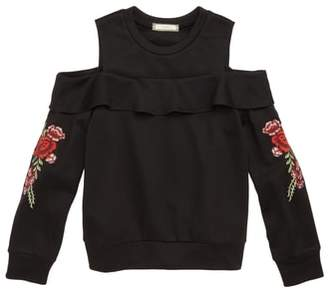 Soprano Embroidered Cold Shoulder Sweatshirt