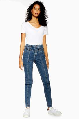 Topshop Womens Mid Blue Panelled Jamie Jeans - Mid Stone
