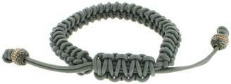 Stephen Webster 925 Sterling Silver Grey Woven Leather With Cap End Mens Bracelet