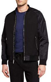 Men's Mixed-Media Bomber Jacket