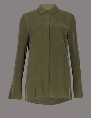 Marks and Spencer Pure Silk Button Through Long Sleeve Shirt