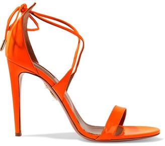 Aquazzura - Linda Patent-leather Sandals - Bright orange $675 thestylecure.com