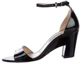 Prada Patent Leather Ankle-Strap Sandals
