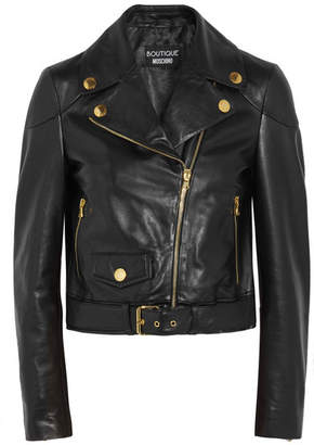 Boutique Moschino - Leather Biker Jacket - Black $1,250 thestylecure.com