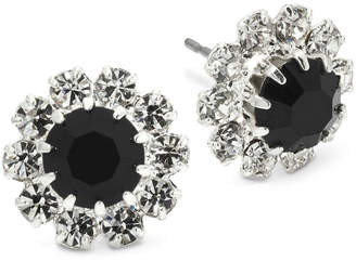 clear VIESTE ROSA Vieste Jet Black & Crystal Flower Earrings