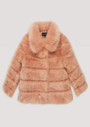 Emporio Armani Tone-On-Tone Striped Faux-Fur Coat With Wide Collar