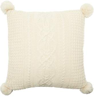 "Indigo CABLE-KNIT POM POM PILLOW COVER IVORY, 18"" X 18"""