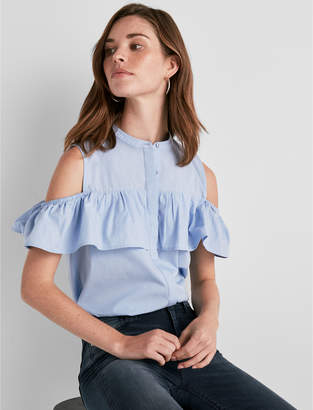 Lucky Brand COLD SHOULDER JAQUARD TOP