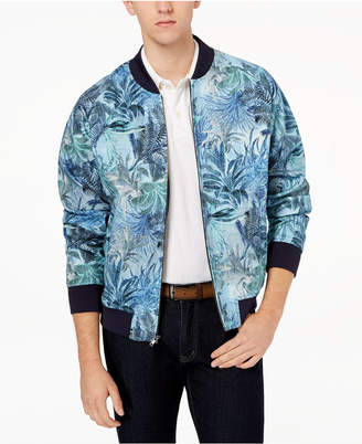 Tallia Orange Men's Modern-Fit Aqua Tropical-Print Bomber Jacket