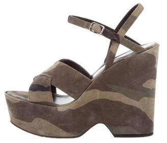 Saint Laurent Camouflage Ankle Strap Wedges