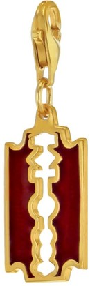 True Rocks Red Enamel & 18 Carat Gold Plated Small Razor Blade Charm