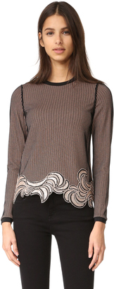 3.1 Phillip Lim Long Sleeve Embroidered Crop Top $395 thestylecure.com