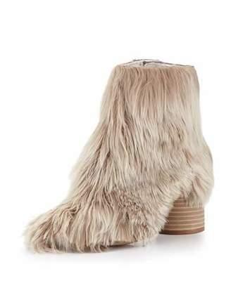 Maison Margiela Alpaca Wood-Heel 80mm Bootie, Natural $1,970 thestylecure.com