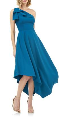 Kay Unger One-Shoulder Asymmetrical Crepe Cocktail Dress