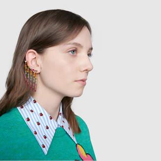 Gucci Single GG Running ear cuff with multicolor jade