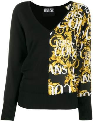 Versace Baroque print V-neck jumper