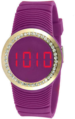 JCPenney TKO ORLOGI Womens Crystal-Accent Purple Silicone Strap Touch Digital Sport Watch
