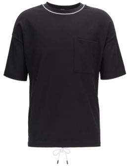 Relaxed-fit T-shirt in waffle cotton with drawstring hem