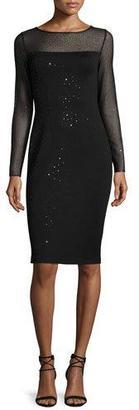 St. John Collection Shimmery Milano Knit Long-Sleeve Sheath Dress, Caviar $1,495 thestylecure.com