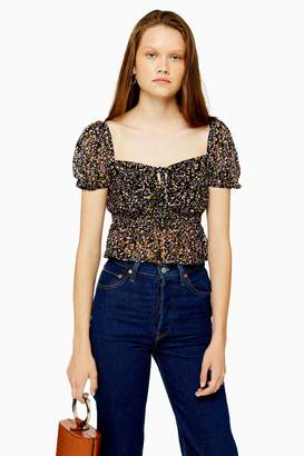 Topshop Womens Ditsy Floral Lace Top - Black