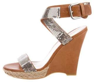 Stuart Weitzman Sequin Leather Wedges