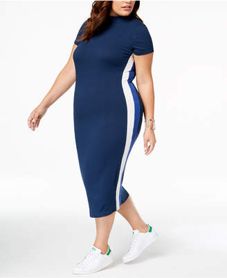 Soprano Trendy Plus Size Striped Bodycon Dress
