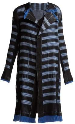 Issey Miyake Gleam Striped Pleated Coat - Womens - Blue Multi