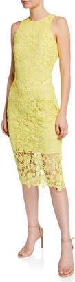 Neiman Marcus Sleeveless Lace Midi Dress