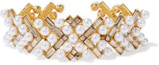 Oscar de la Renta Gold-plated, Faux Pearl And Swarovski Crystal Bracelet - White
