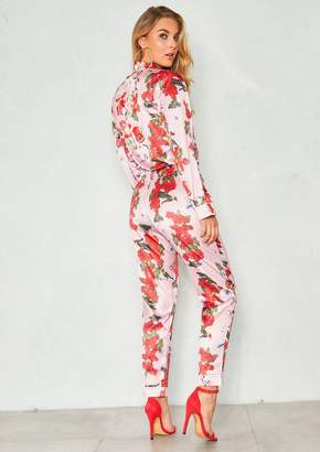 39fbaa2eaf Missy Empire Missyempire Lucy Pink Satin Floral Pyjama Style Trousers