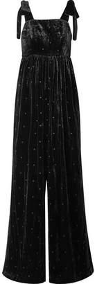 3648eb29dbc4 Ulla Johnson Minnet Bow-embellished Swiss-dot Velvet Jumpsuit - Black