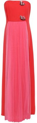 DELPOZO Strapless Embellished Crepe And Tulle Gown