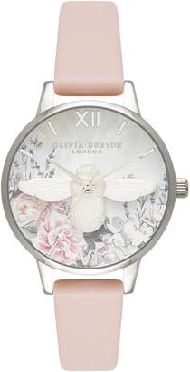 Olivia Burton Glasshouse Leather Strap Watch, 30mm