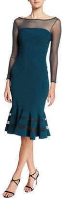 Chiara Boni Boat-Neck Long-Sleeve Flounce-Hem Illusion Dress