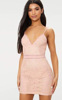 PrettyLittleThing White Lace Binding Detail Strappy Bodycon Dress