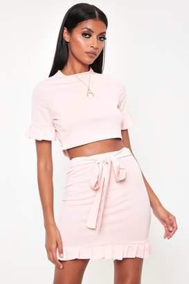 0b6f2e29a I SAW IT FIRST Nude Frill Hem Tie Belt Crepe Mini Skirt