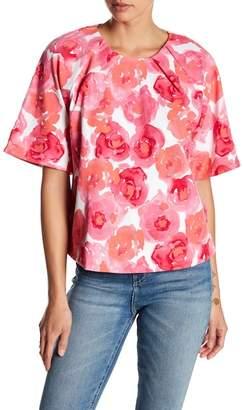 Joan Vass Pleated Floral Print Blouse