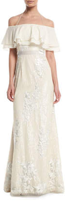 Aidan Mattox Popover Sequin Gown