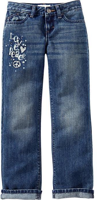 Old Navy Girls Embellished-Graphic Boyfriend Jeans