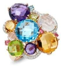 Effy Diamond Multi-Gemstone 14K Rose Gold Cluster Ring