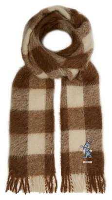 Gucci Bunny Embroidered Checked Alpaca Blend Scarf - Mens - Beige