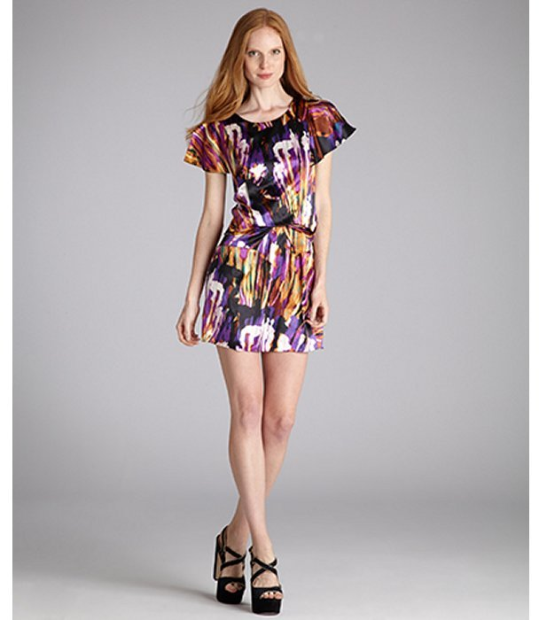 Ali Ro abstract printed silk draped waist dress