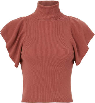 A.L.C. Jae Ruffle Knit Red Top