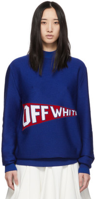 Off-White Off White Blue and Red Logo Flag Crewneck Sweater