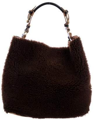 Marni Leather-Trimmed Shearling Hobo Brown Leather-Trimmed Shearling Hobo