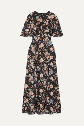 Les Rêveries Floral-print Silk Crepe De Chine Maxi Dress - Black