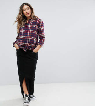 Supermom Denim Maxi Skirt With Eyelet Pocket And Frayed Hem