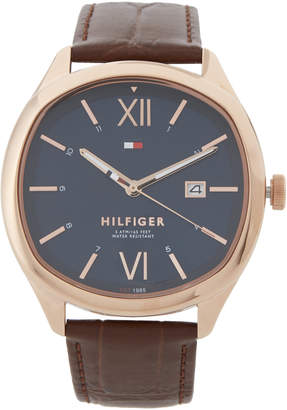 Tommy Hilfiger 1710366 Rose Gold-Tone & Brown Croc-Embossed Clark Watch