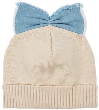 Federica Moretti Sand Bow-embellished Cotton Beanie