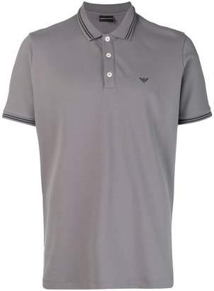 Emporio Armani striped rib polo shirt